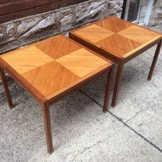 #DanishModern #Vintage Pair of #JensRisom style #Walnut #Parquet #SideTables