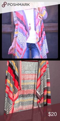 Colorful Striped Kimono / Cardigan Very lightweight, super cute! I purchased this online & never wore it. There is no brand name on the tag Sweaters Cardigans