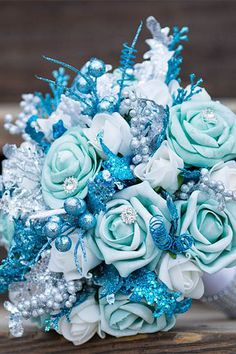 """""""Frozen Ice"""" blue glitter wedding bouquet for winter weddings - Get the perfect bouquet for yo. Aqua Wedding, Glitter Wedding, Wedding Colors, Trendy Wedding, Turquoise Weddings, Nautical Wedding, Rustic Wedding, Frozen Wedding Theme, Wedding Themes"""