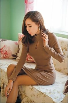 $18.48 Solid Keyhole Irregular Long Sleeve Dress Khaki on BuyTrends.com