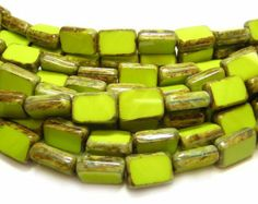 50 CENTS EACH WHEW!!!  $3.99 FOR 8 (12x8mm)  Czech Picasso Beads 12x8mm Chartreuse PIcasso Table Cut Rectangle Beads 8pcs (4098) Czech Glass Beads ~~ GR8BEADS