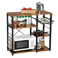 A kitchen as in the countryside - HomeCNB Microwave Stand, Microwave In Kitchen, Microwave Oven, New Kitchen, Kitchen Island, Kitchen Carts, Kitchen Shelves, Kitchen Storage, Mini Four