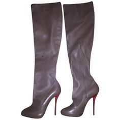 Pre-owned Christian Louboutin Sempre Monica Taupe Boots (38,430 THB) ❤ liked on Polyvore featuring shoes, boots, taupe, above the knee boots, christian louboutin over-the-knee boots, elastic boots, stretchy boots and christian louboutin