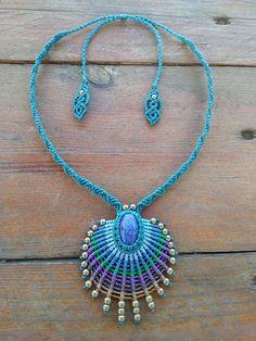 Macrame necklace peacock feather necklace boho necklace