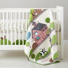 For boy vintage farm nursery - The Land of Nod | Baby Bedding: Farm Animal Crib Bedding in Crib Bedding