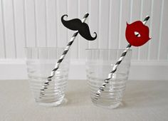 Mustache and Lip Paper Straws. Paper Straws. Mustaches and Lips. Party // Baby Shower // Wedding Accessories. Set of 8.