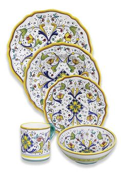 All pieces are completely handmade and hand painted in Deruta, Italy, and are, like all of our dinnerware, completely food safe and dishwasher safe. Enjoy creating a classic Italian table for a fabulous dinner party by combining serving pieces, dinnerware and decorative pieces. Plates and platters are also perfect for hanging on the wall as