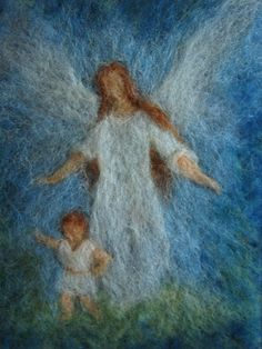 Pictures – Guardian angel wool picture – a unique product by yellownek on DaWanda - Nadelfilzen Ideen Wet Felting, Needle Felting, Waldorf Crafts, I Believe In Angels, Felt Pictures, Wool Art, Angels Among Us, Guardian Angels, Angel Art