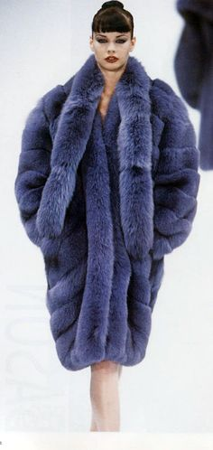 Dyed fox fur coat