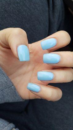 #AcrylicNailsStiletto Light Colored Nails, Light Blue Nails, Short Square Acrylic Nails, Blue Acrylic Nails, Pastel Nail, Square Gel Nails, Blue Gel Nails, Short Square Nails, Coffin Acrylics