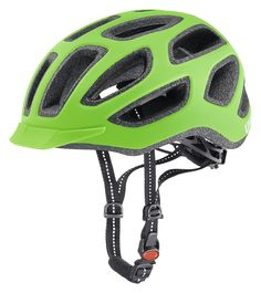 uvex city e // The all new uvex city e cycling helmet is what you need for a relaxed bike stroll through the city. Equipped with various ventilation channels and perfectly visible with reflective straps and logos, this helmet offers you the no.1 comfort zone.