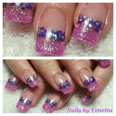 Pink and Purple Glitter Fade French Acrylic Nails