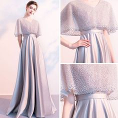 Stunning Grey Evening Dresses With Shawl 2018 Empire V-Neck Beading Floor-Length. - Stunning Grey Evening Dresses With Shawl 2018 Empire V-Neck Beading Floor-Length / Long Ruffle Backless Formal Dresses Source by mollycervera Grey Evening Dresses, Grey Prom Dress, Elegant Dresses, Evening Gowns, Evening Shawls, Dress Brokat, Kebaya Dress, Bridesmaid Dresses, Prom Dresses