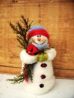 Hot Handmade Felt Christmas Figurine Ornaments, Buddy the Snowman and Cardinal Wool Ornaments For Christmas Tree