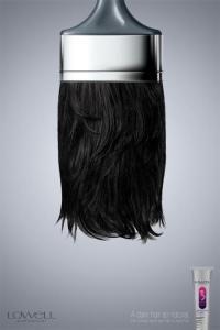 He elegido este anuncio para la metáfora porque incluye el cabello de una persona comparándolo con los pelos de una brocha. El cabello lo han puesto de color negro porque quieren resaltar que es una brocha mojada en tinte, que además deja el pelo de la persona con color