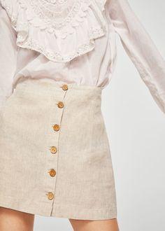 Button linen skirt   MANGO