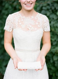 Sheer embroidered lace short sleeve wedding dress: http://www.stylemepretty.com/2016/02/23/trend-short-sleeve-wedding-dresses/