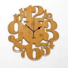 Unique Bamboo Wall Clock Numeric Forest by HOMELOO on Etsy - store. Clock Art, Diy Clock, Vintage Modern, Scroll Saw Patterns Free, Wood Plant Stand, Bamboo Wall, Cool Clocks, Bamboo Crafts, Wall Clock Design