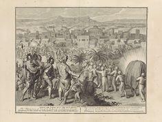 Gilliam van der Gouwen | Vernietiging van Jericho, Gilliam van der Gouwen, Pieter de Hondt, 1728 | Op de rechtervoorgrond zeven priesters die blazend op ramshoorns richting Jericho wandelen. Achter hen volgt de ark van het verbond. Op de achtergrond verbrokkelen de muren van de stad Jericho. Jozua staat op de voorgrond en geeft het bevel de stad Jericho aan te vallen (Jos.6:8-21). De prent heeft een Hebreeuws, Latijns, Frans, Engels, Duits en Nederlands onderschrift.