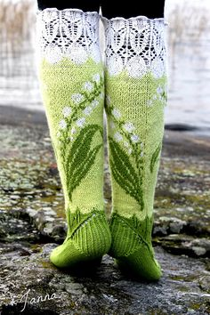Lily of the Valley Socks pattern by Titta Järvensivu : These Lily of the valley -socks are a bit laborious yet very satisfactory knitting project. You'll use and learn different knitting techniques. Crochet Socks, Knitting Socks, Hand Knitting, Knitting Patterns, Knit Crochet, Crochet Patterns, Knit Socks, Knitting Accessories, Lily Of The Valley