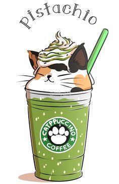 Pistachio CATpuccino from amcart - Cute stuff - Cat Drawing Chat Kawaii, Arte Do Kawaii, Kawaii Cat, Cute Food Drawings, Cute Animal Drawings Kawaii, Cute Drawings Of Animals, Art Drawings, Cartoon Mignon, Cute Cat Drawing