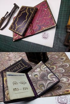 marbled papers by F. Aquilina in the bookbinding art works by Nathan Gutorov, master bookbinder in Israel
