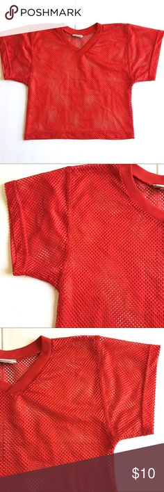 """Short Sleeve Athletic Mesh Crop Top Poly SzM $10 Champro Sports, Size Medium, Short Sleeve Athletic Mesh Crop Top In Red Polyester Knit, boxy Cut, V-Neck. Excellent Condition perfect for Festival Season or the Beach. Measures 18"""" across shoulders, 18.5"""" armpit to armpit, 20.5"""" long. BUNDLE and SAVE Champro Sports Tops Crop Tops"""