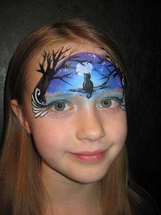 Face Painting - Night Cat (add leaves) eye mask flourish