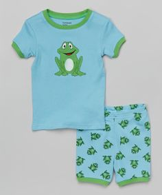 Look at this Blue & Green Frog Pajama Set - Toddler & Boys on #zulily today!