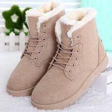 Botas de mujer de Marca de Invierno Felpa Corta Botas Tobillo de Las Mujeres Botas de Nieve Caliente Zapatos de Las Mujeres(China)
