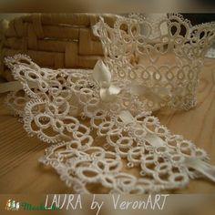 LAURA törtfehér hajócsipke menyasszonyi kesztyű / karkötő, horgolt ékszer, Esküvő, Ékszer, óra, Esküvői ékszer, Karkötő, Meska My Works, Crochet Necklace, Wedding, Jewelry, Fashion, Valentines Day Weddings, Moda, Jewlery, Crochet Collar