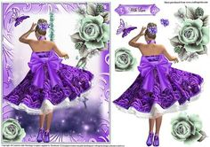 great topper size with decoupage and sentiment tag With Love Iris Folding Pattern, Dress Card, Atc Cards, Decoupage Paper, Card Patterns, Rose Dress, Purple Roses, Cute Crafts, Hobbies And Crafts