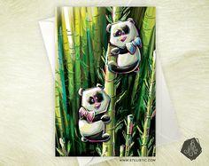Carte de voeux Amitié Anniversaire Naissance Pandas et bambous
