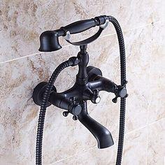 hiendure wandhalterung zwei griffe badewanne armatur mit hand dusche schwarz l eingerieben bronze - Kohler Armaturen L Eingerieben Bronze