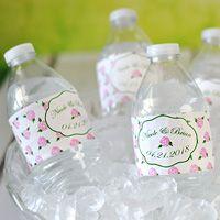 Personalized Vintage Roses Waterproof Water Bottle Labels