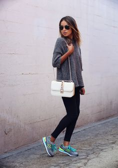 new balance sneakers + grey sweater + Valentino bag http://FashionCognoscente.blogspot.com