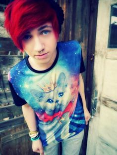 Emo/scene boy with red hair :3