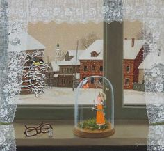 The girl in the red hood Window View, Open Window, Winter Illustration, Illustration Art, Jar Art, Summer Memories, Animation, Through The Window, Red Hood