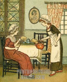 'Polly put the kettle on' (1881) Illustrated by Kate Greenaway an  English childrens book illustrator and authoress (1846-1901) from Mother Goose book.