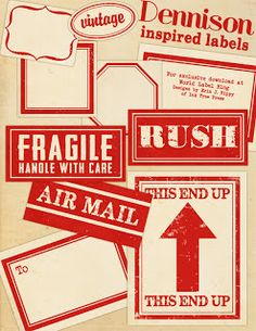 free printable red shipping labels for mail art and journal projects with a vintage traveller theme