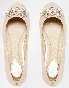 Oasis | Oasis Embellished Flat Ballerina Shoes at ASOS
