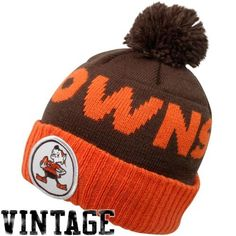 Cleveland Browns Brown Mitchell Ness Throwbacks Cuffed Pom Knit Hat -- You  can get more details by clicking on the image. 9ffa4d34c