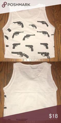Guns crop top White crop top with black guns. Worn once Tobi Tops Crop Tops
