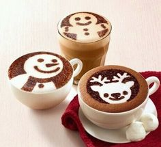 Christmas Coffee Art - Bottled by Coffee Coffee Latte Art, I Love Coffee, Coffee Cafe, Coffee Break, My Coffee, Coffee Drinks, Coffee Shop, Ninja Coffee, Camping Coffee