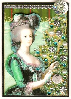 Marie Antoinette by the Christmas Tree, ATC by Kris DIckinson