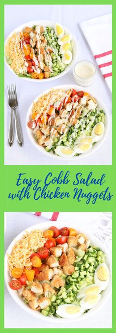 This fun twist on a classic cobb salad will be your new favorite lunch or dinner recipe! The gluten-free chicken nuggets save you time in the kitchen and provide a healthy protein source. Top it with ranch dressing to really give it that familiar cobb salad taste. Perfect for a summer meal or year round! Healthy Meals To Cook, Nutritious Meals, Easy Healthy Recipes, Healthy Cooking, Easy Meals, Healthy Eating, Salad Recipes For Dinner, Dinner Salads, Cobb Salad Ingredients