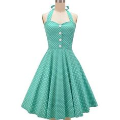 Vintage Halterneck Polka Dot Button Design Women's Dress ($25) ❤ liked on Polyvore featuring dresses, vintage halter top, vintage halter dress, vintage day dress, halter neckline dress y blue halter top