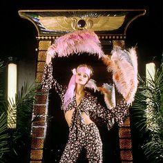 A model posing in London's 'Big Biba' boutique in the 1970s