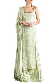 Buy Mint green sequin & kachra bead embellished chiffon kurta set by Nakul Sen at Aza Fashions Sharara Designs, Kurta Designs Women, Kurti Designs Party Wear, Lehenga Designs, Designer Kurtis, Indian Designer Suits, Ethnic Outfits, Ethnic Dress, Pakistani Dress Design