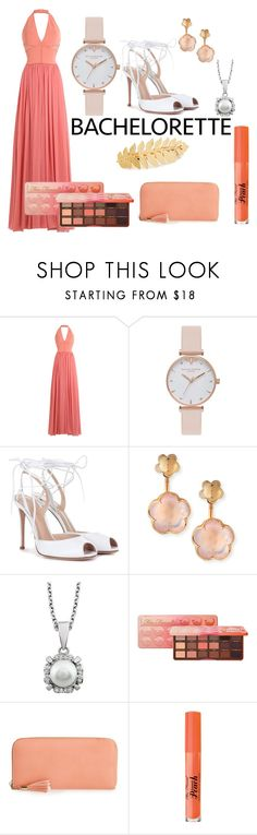 """""""THE Bachelorette"""" by fdalwah ❤ liked on Polyvore featuring Elie Saab, Olivia Burton, Gianvito Rossi, Pasquale Bruni, Too Faced Cosmetics, Emperia, Avigail Adam, monochrome, peach and sweet"""